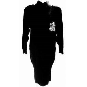 80's 90's Vintage A Millano Black Sweater Dress M